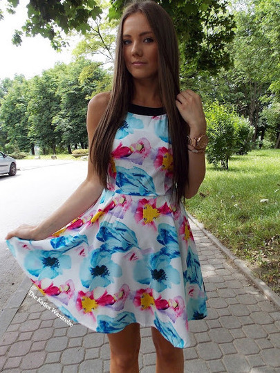 Multicolour Strap Hibiscus Floral Slim Flare Iridescent Dress
