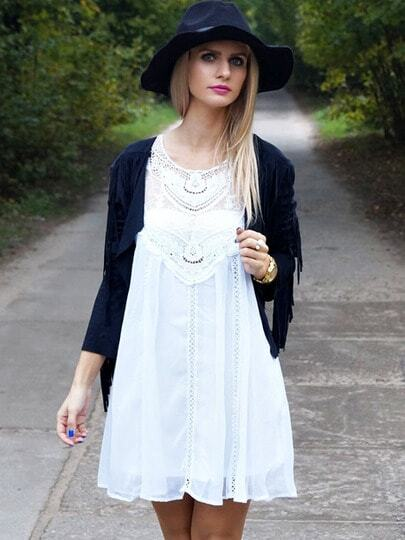 Appliques Sleeveless With Lace Dress