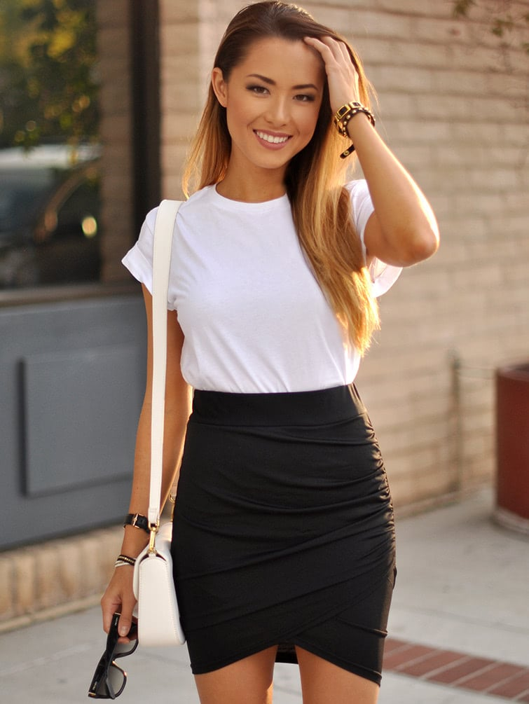 Image of Asymmetrical Ruched Overlap Bodycon Skirt