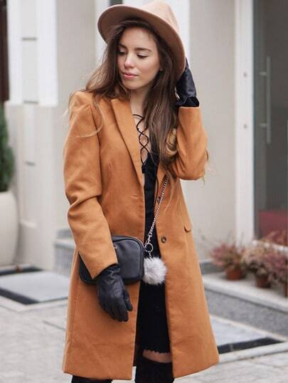 Brown Long Sleeve Lapel Pockets Coat