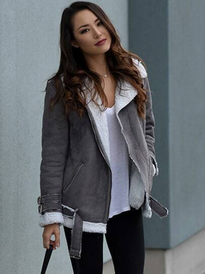 Grey Long Sleeve Lapel Jacket