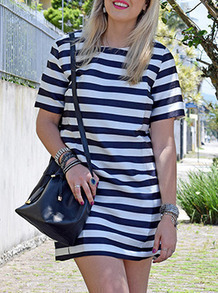 Multicolour Tees Short Sleeve Striped Pockets Dress