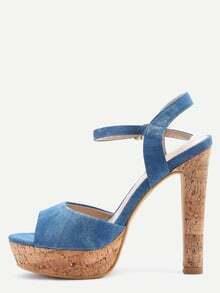Light Blue Denim Ankle Strap Cork Platform Sandals