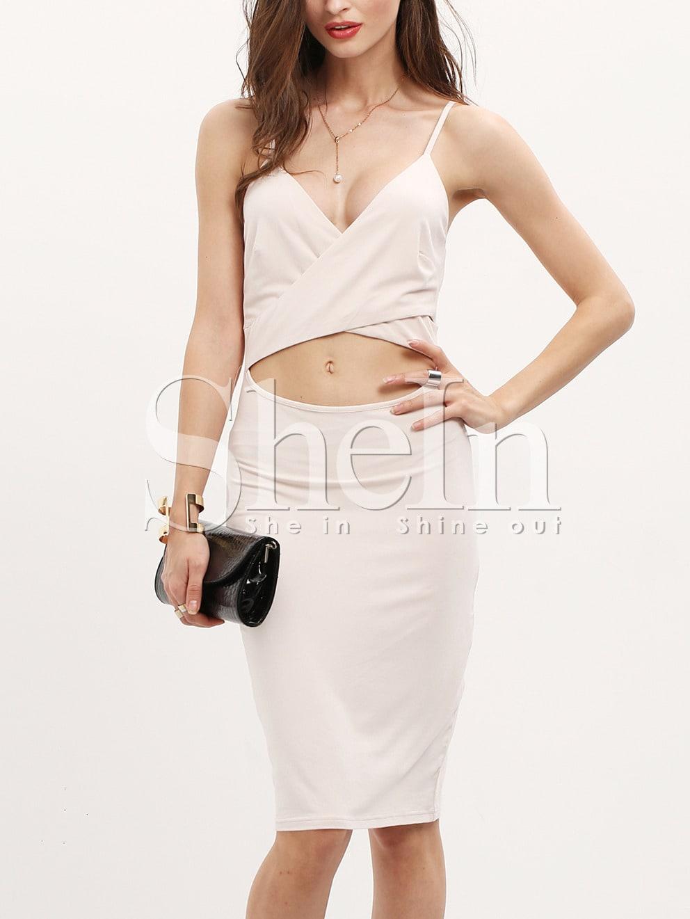 Pink Spaghetti Strap Sheath Dress dress151111506