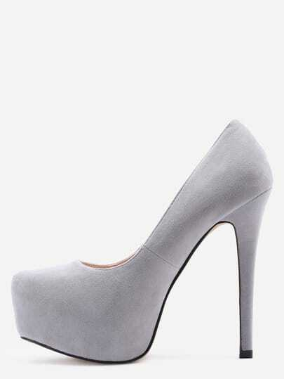 Grey Faux Suede Platform Pumps
