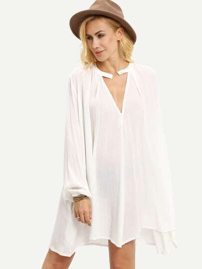 White V Neck Button Front Shift Dress