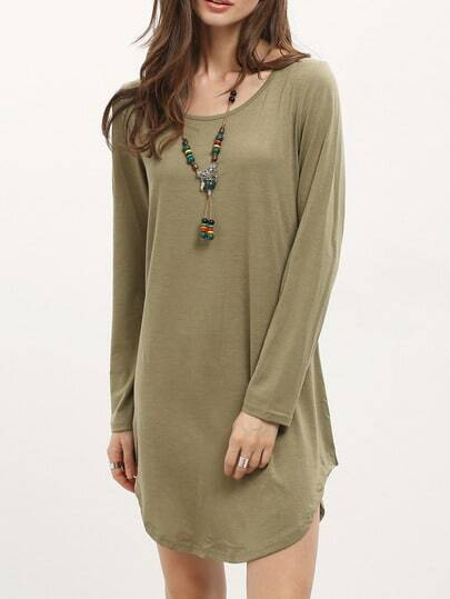 Green Long Sleeve Backless Dress