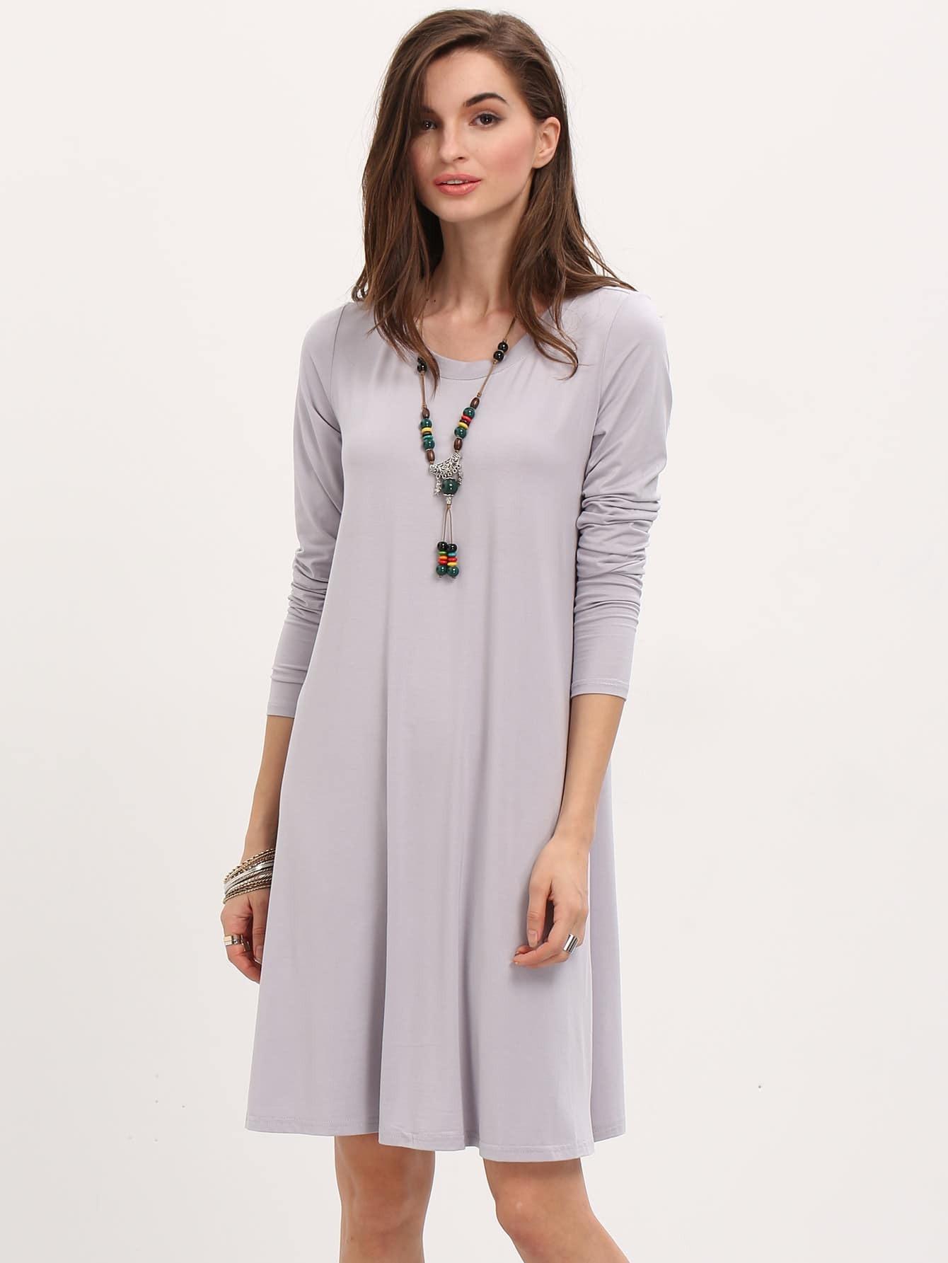 Фото Oxblood Long Sleeve Casual Babydoll Dress. Купить с доставкой