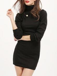 Black High Neck Slim Bodycon Dress