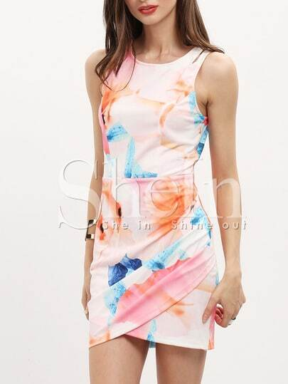 Pink Hourglass Sleeveless Floral Flowery Rouched Print Bodycon Dress