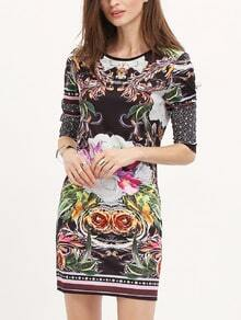 Black Challis Long Sleeve Petals Flowery Floral Dress