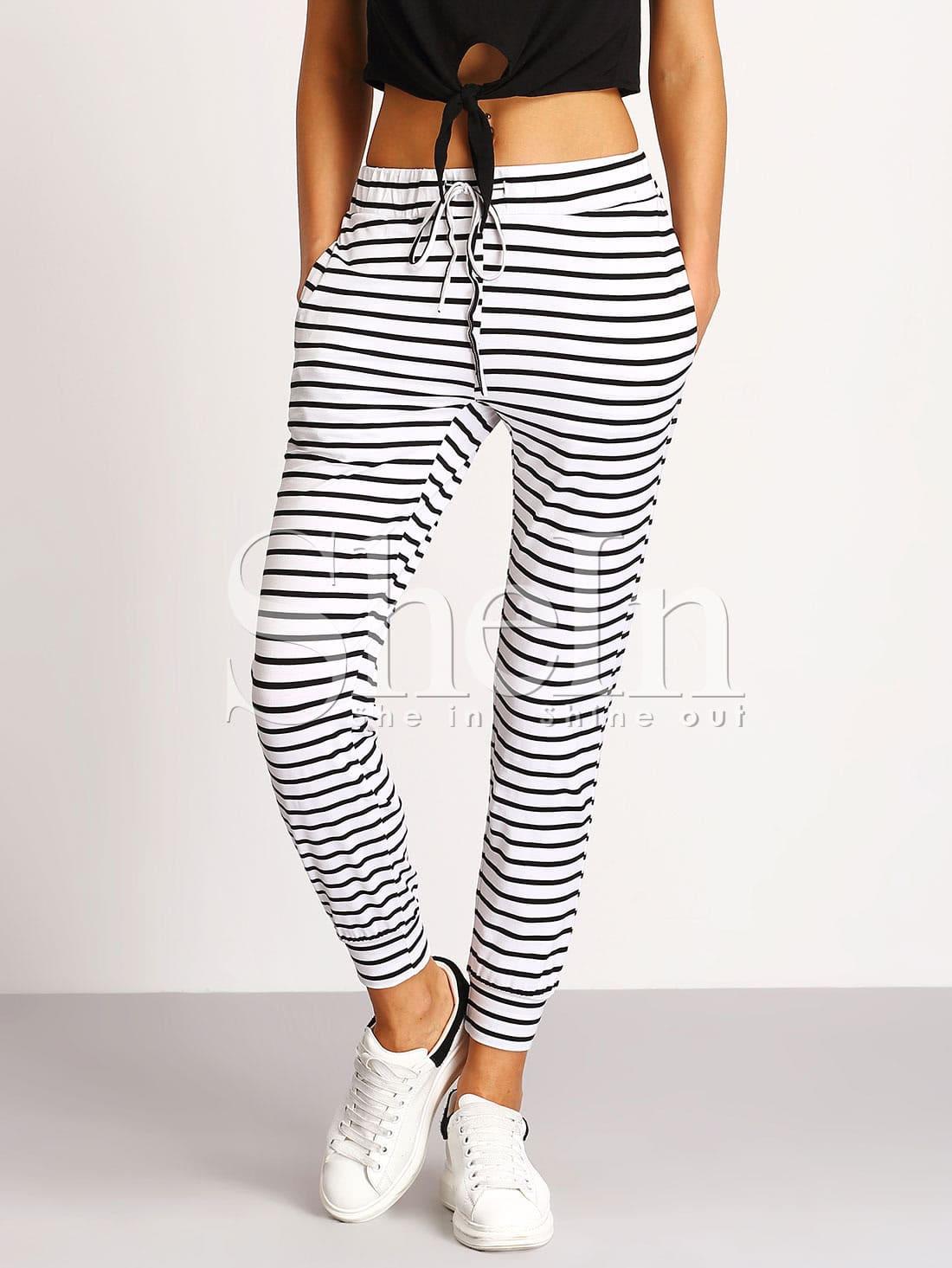 Купить Бело-чёрные полосатые брюки, Mary, SheIn