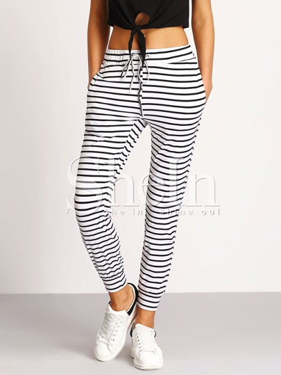 Tie-Waist Striped Pants