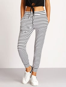 Tie-Waist Striped Pants -SheIn(Sheinside)