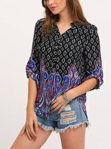 Navy V Neck Vintage Retro Print Blouse