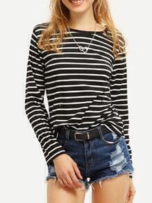 Long Sleeve Striped Black T-shirt