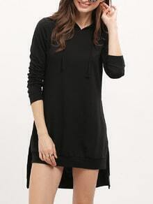 Black Hooded Long Sleeve High Low Dress