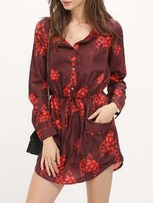 Burgundy Drawstring Waist Floral Dress