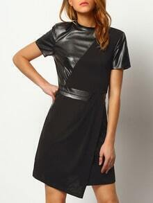 Black Contrast PU Leather Pockets Dress