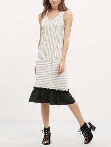 White Sleeveless Striped Contrast Flounce Dress