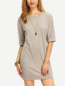 Grey Round Neck Inch Half Sleeve Loose Dress