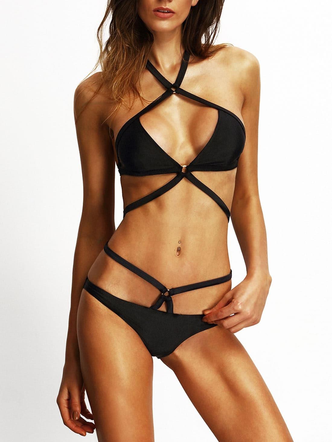 Black Cross Halter Sexy Bikini swimwear150515102