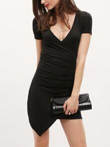 Plunging V-Neckline Asymmetrical Bodycon Dress