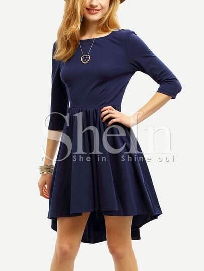 Navy Semiformal Backless Elbow Sleeve Pleated Dress