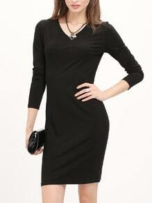 Black Knee Length Sheath Dress