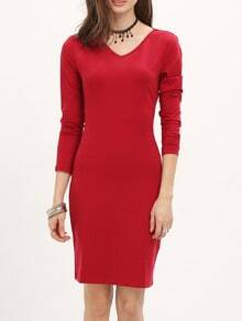 Burgundy Long Sleeve Sheath Dress