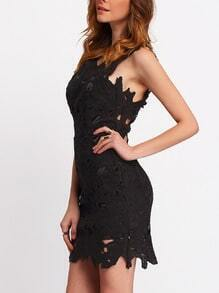 Black Sleeveless Backless Hollow Bodycon Dress