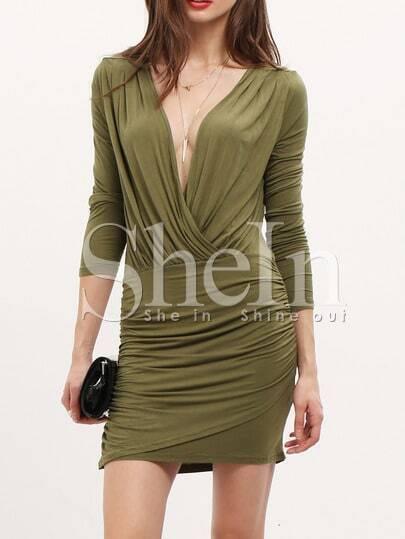 Army Green Long Sleeve Deep V Neck Bodycon Dress