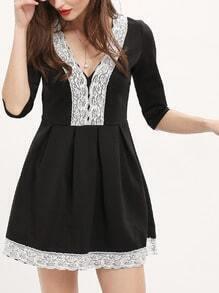 Black Deep V-neck Lace Embellished Flare Dress
