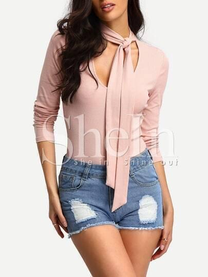 Pink Long Sleeve V-neck Slim Bodycon  Dress