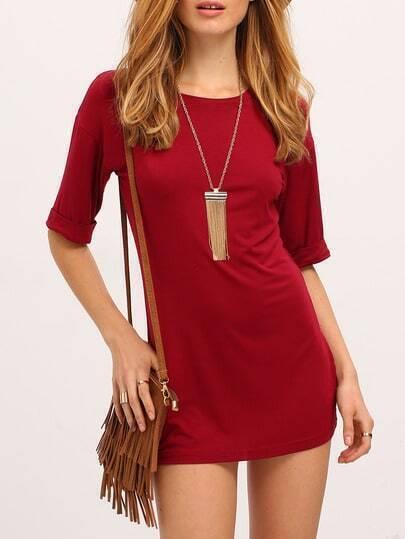 Wine Red Burgandy Round Neck Slim Bodycon Dress