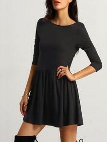 black round neck backless dress sheinsheinside