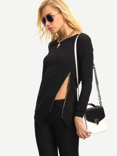 Black Long Sleeve Zipper Asymmetric Sweatshirt
