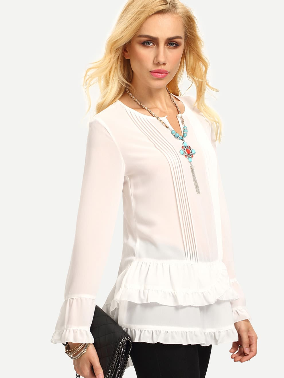 More Details Finley Jenna Long-Sleeve Button-Front Tiered Ruffle Satin Blouse, Plus Size Details Finley