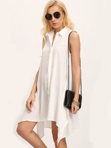 White Sleeveless Buttoned-down Flowy Dress
