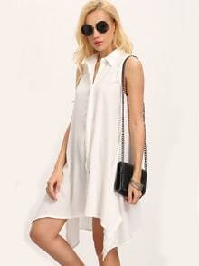 White Sleeveless Buttoned-down Flowy Dress