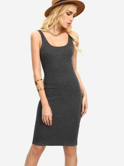 Scoop Neck Sleeveless Bodycon Dress