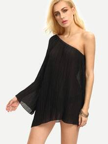 Black One Shoulder Pleated Chiffon Shirt