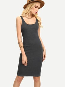 Grey Sleeveless U Neck Bodycon Dress