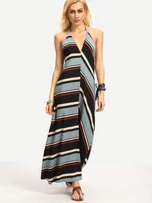 Multicolor Stripe V Neck Halter Neck Maxi Dress