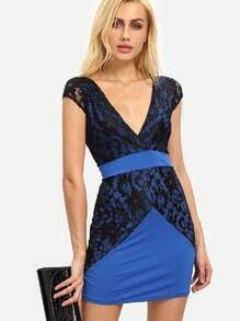 Blue Lace Insert Open Back Bodycon Dress