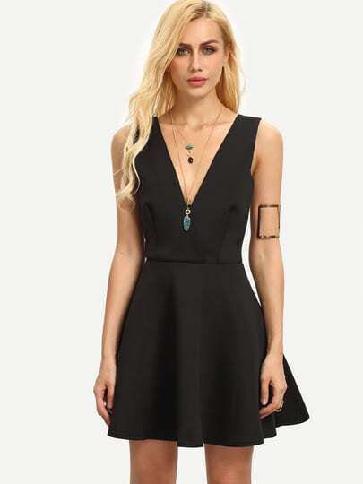 Black Semiformal Sleeveless Dupioni V Neck Flare Dress