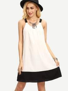 White Patchwork Black Sleeveless Shift Dress