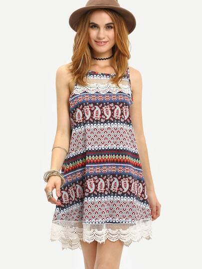 MultiColor Sleeveless With Lace Vintage Print Dress