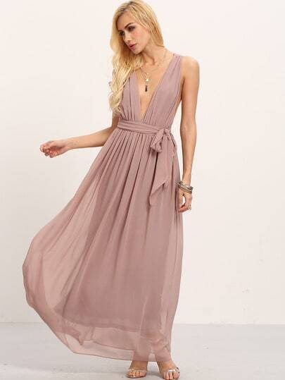 Brown Deep V Neck Tie-Waist Pleated Maxi Dress pictures