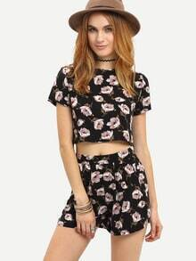 Black Crew Neck Floral Top With Shorts
